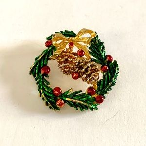 Vtg St Labre Christmas Pine Cone Wreath Brooch